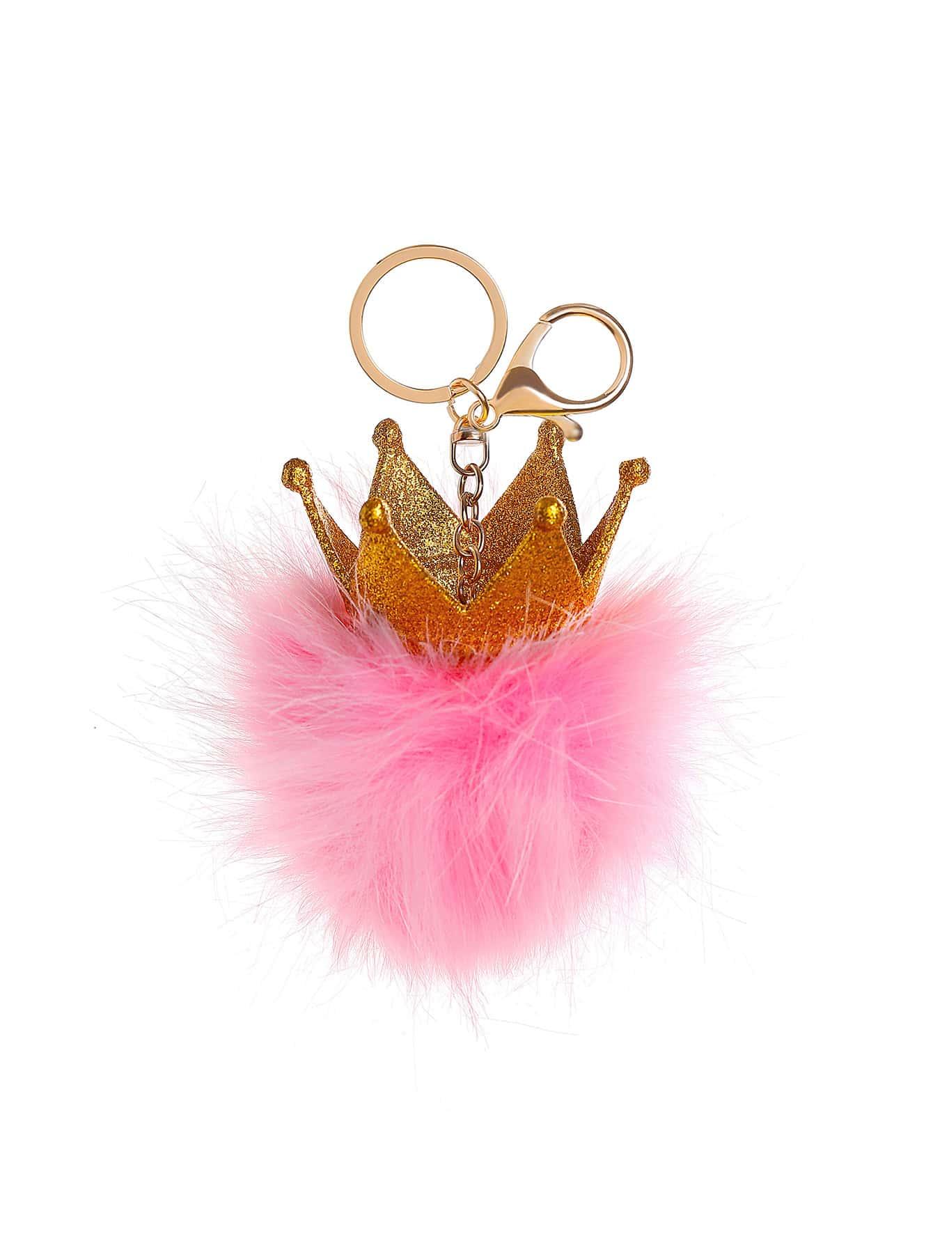 Crown Detail Keychain With Pom Pom