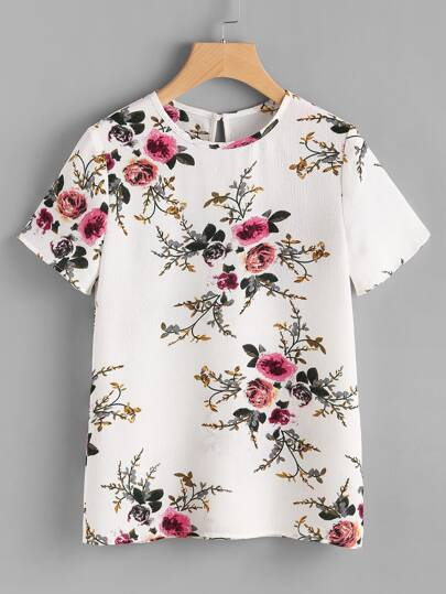 Button Closure Back Floral Print Top