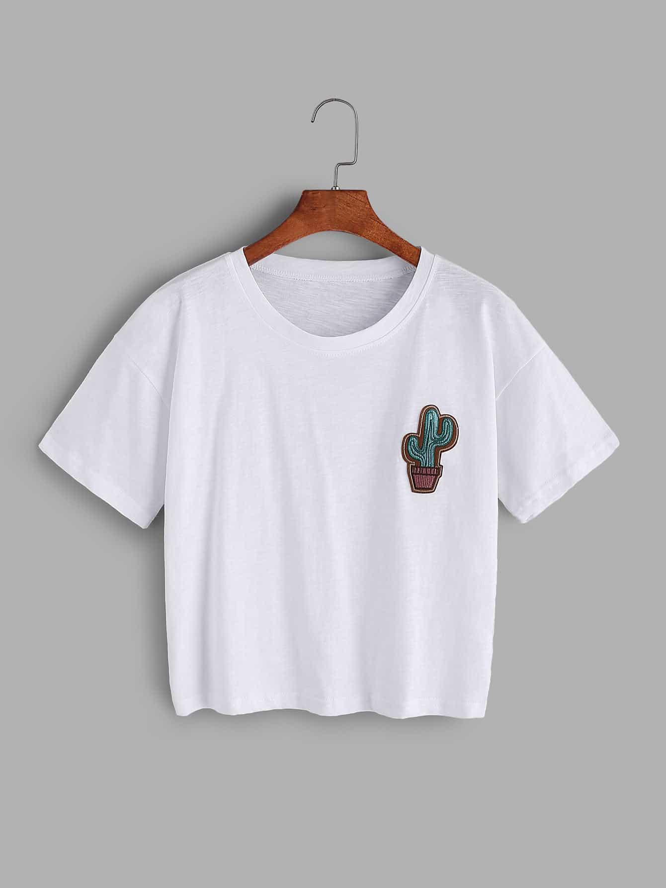Cactus embroidered t shirt shein sheinside