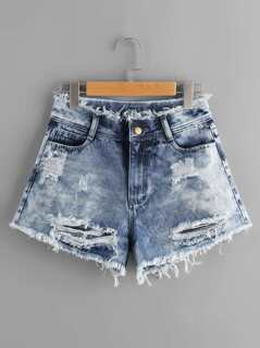 Cloud Wash Destroyed Denim Shorts