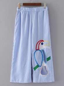 Pantalones con cintura elástica de rayas verticales con pernera ancha