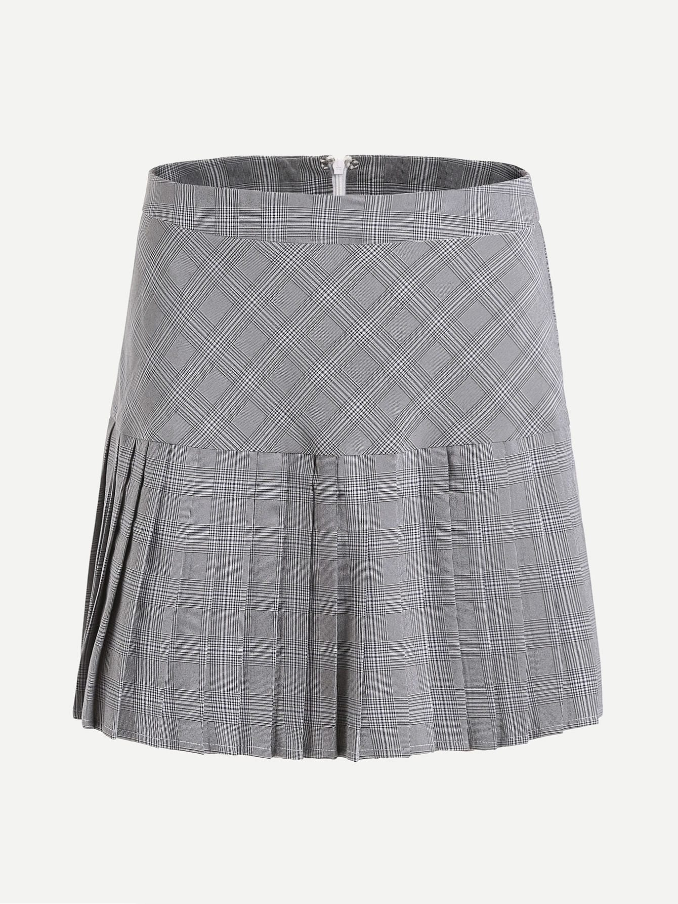 Drop Waist Pleated Mixed Check Skirt skirt170526704