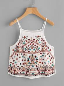 Aztec Embroidered Slit Side Cami Top