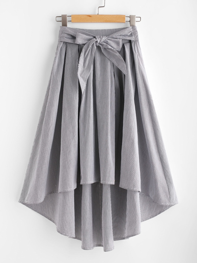 Bow Tie Front Box Pleated High Low Striped Skirt