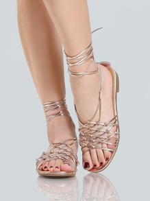Metallic Weave Lace Up Sandals ROSE GOLD
