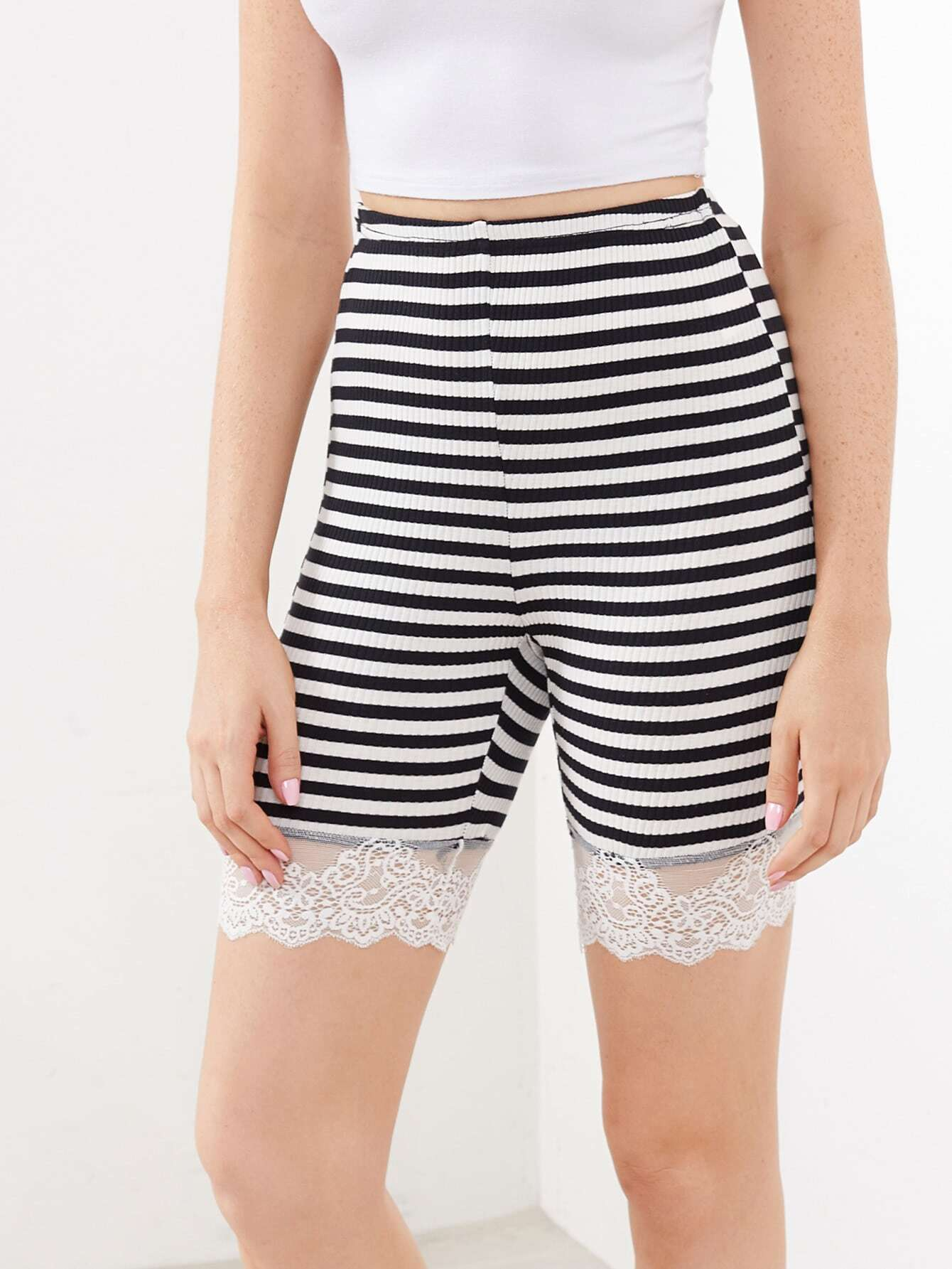 Lace Trim Rib Knit Striped Legging Shorts