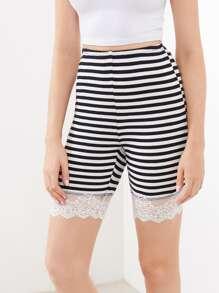 Lace Trim Rib Knit Striped Legging Shorts