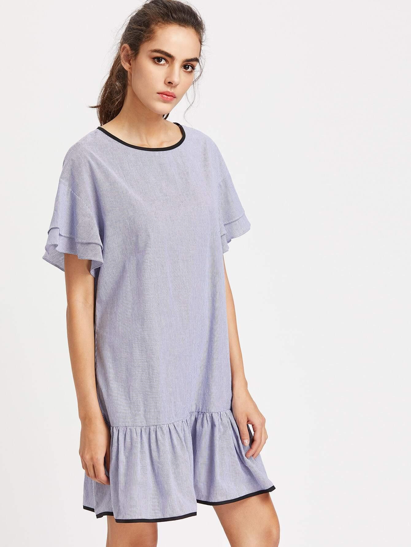 Фото Contrast Binding Drop Shoulder Striped Ruffle Dress. Купить с доставкой