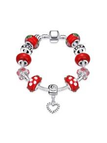 Contrast Tone Heart Charm Bracelet