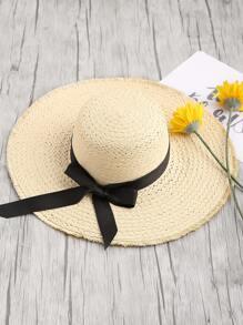 Straw Fedora Hat With Frayed Brim Edge
