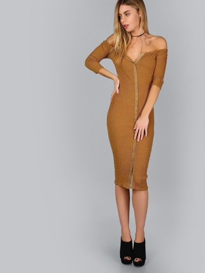 Brown Button Up Off The Shoulder Ribbed Dress
