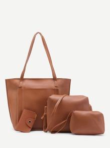 Faux Leather Bag Set 4pcs