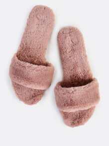 Furry Slip On Sandals MAUVE