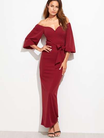 Romwe / Sweetheart Off Shoulder Belted Dress