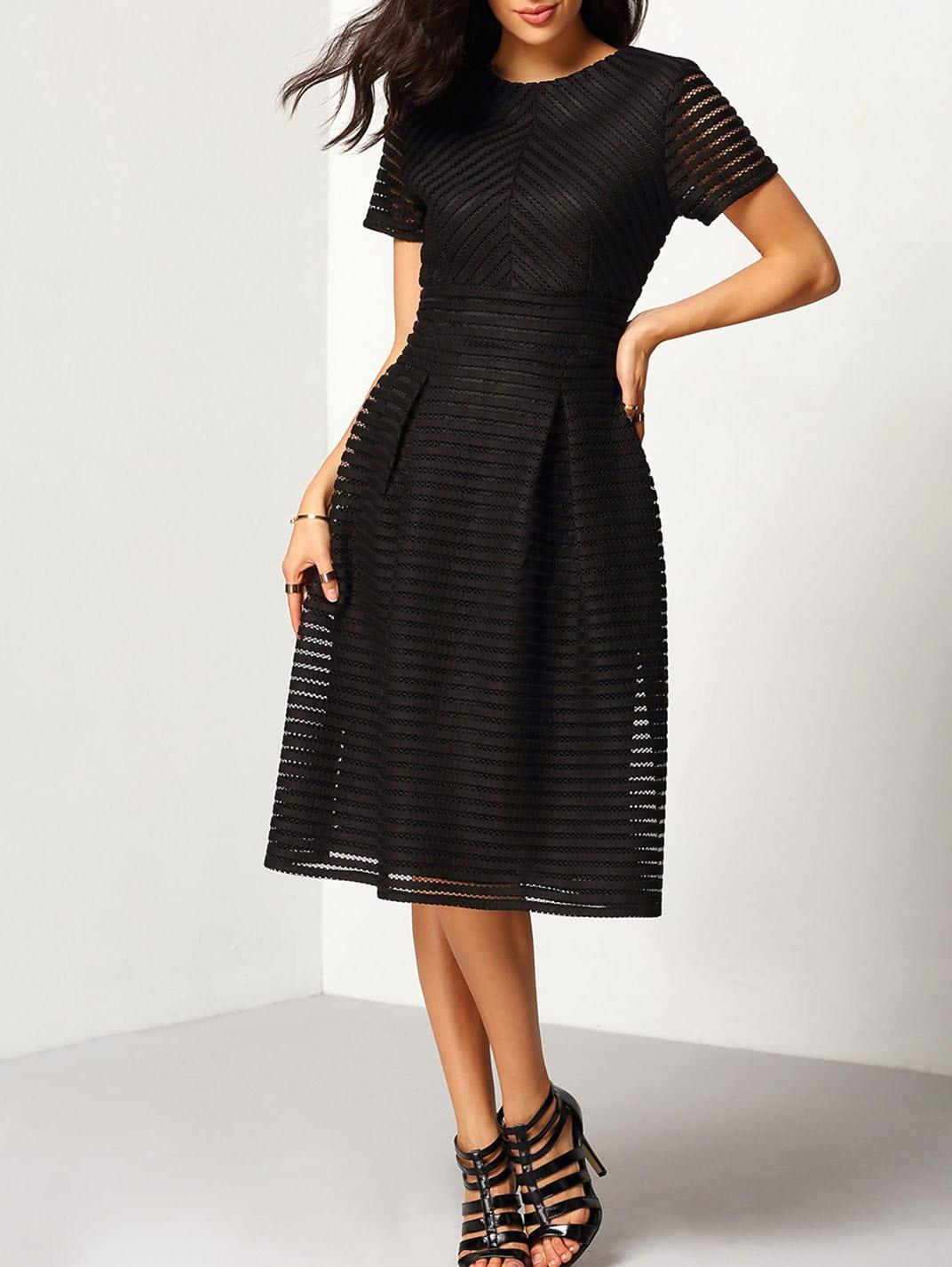 Short Sleeve Hollow Out Flippy Dress