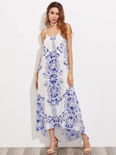 Porcelain Print Gathered Neck Low Back Cami Dress