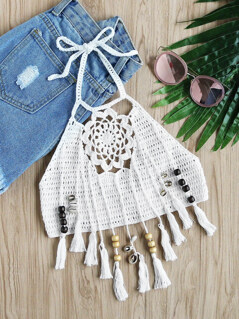 Beaded Tassel Trim Flower Crochet Halter Top