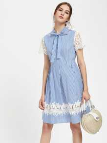 Lace Detail Bow Tie Neck Box Pleated Dress