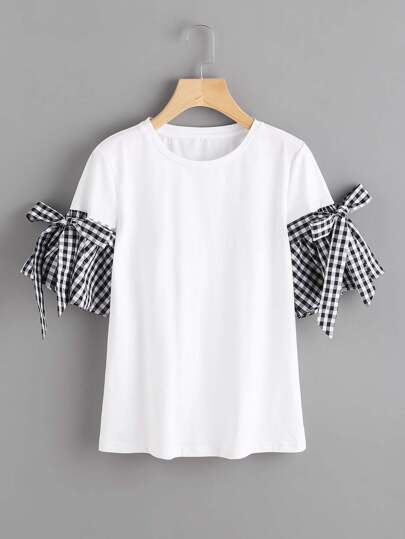 Bow Detail Gingham Bell Cuff T-shirt