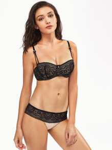 Lace Contrast Underwire Set