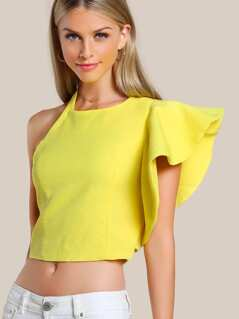 Ruffle Sleeve Cold Shoulder Shirt YELLOW