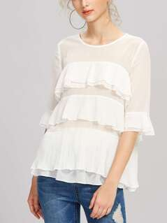 Fluted Sleeve Pleated Flounce Semi Sheer Top