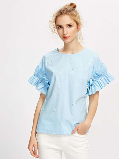 Pearl Beading Shirred Frill Sleeve Top