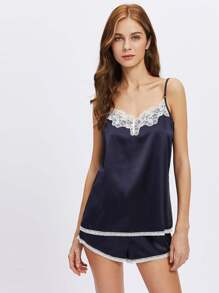 Lace Trim Cami And Shorts Pajama Set