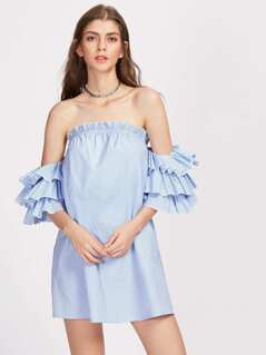 Layered Flutter Sleeve Striped Dress