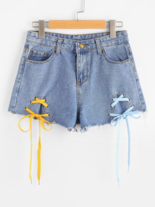 Shorts en denim à lacets