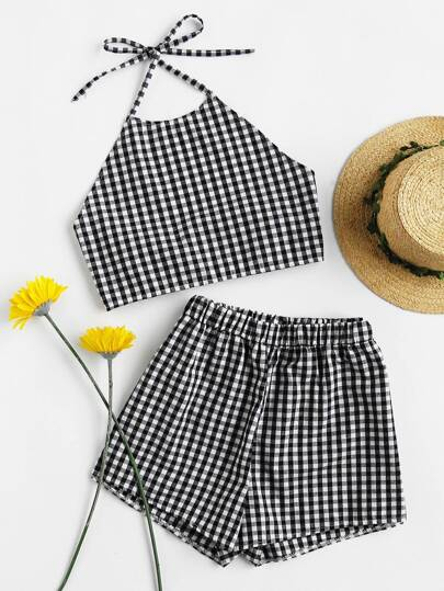 Gingham Print Bow Tie Open Back Crop Top With Shorts