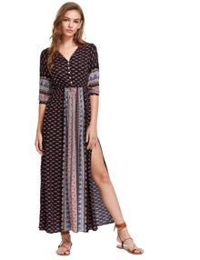 Elbow Sleeve Vintage Print Split Maxi Dress