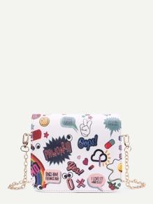 Graffiti Print PU Flap Chain Bag