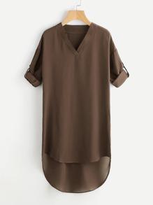 Drop Shoulder Roll Tab Sleeve Dip Hem Dress