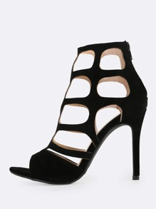 Faux Suede Caged Stiletto Heels BLACK