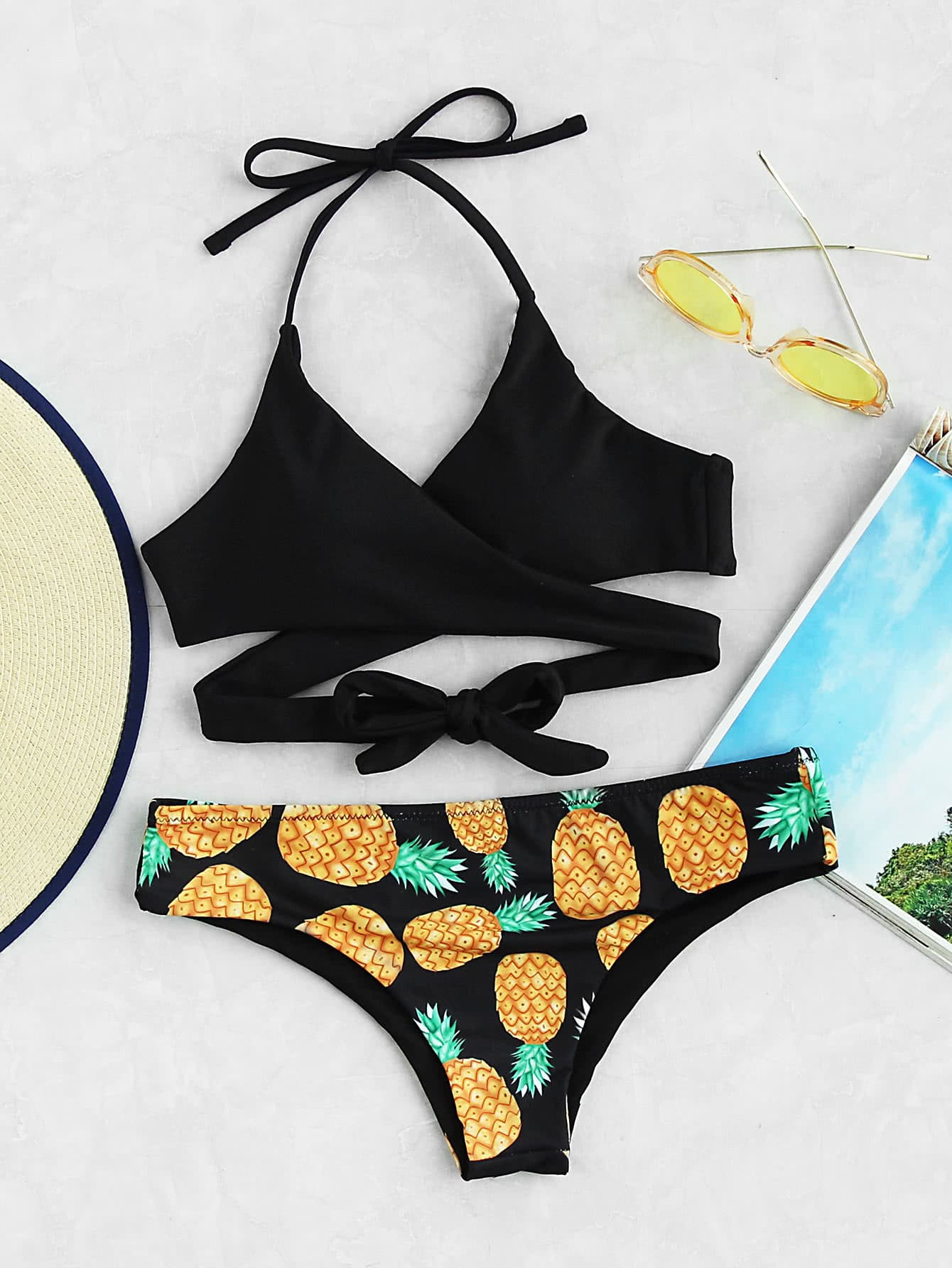 Pineapple and coconut bikini top