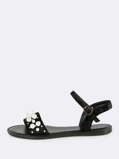 Pearl Stud Velvet Sandals BLACK