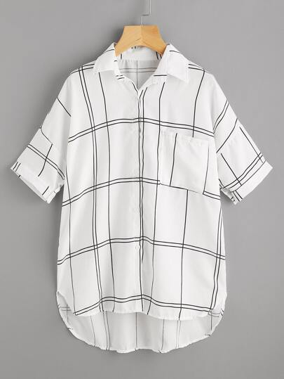 Checked Dip Hem Shirt With Chest Pocket