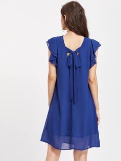 Layered Flutter Sleeve Tied V Back Dress