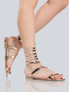 Metallic Coil Sandals ROSE GOLD