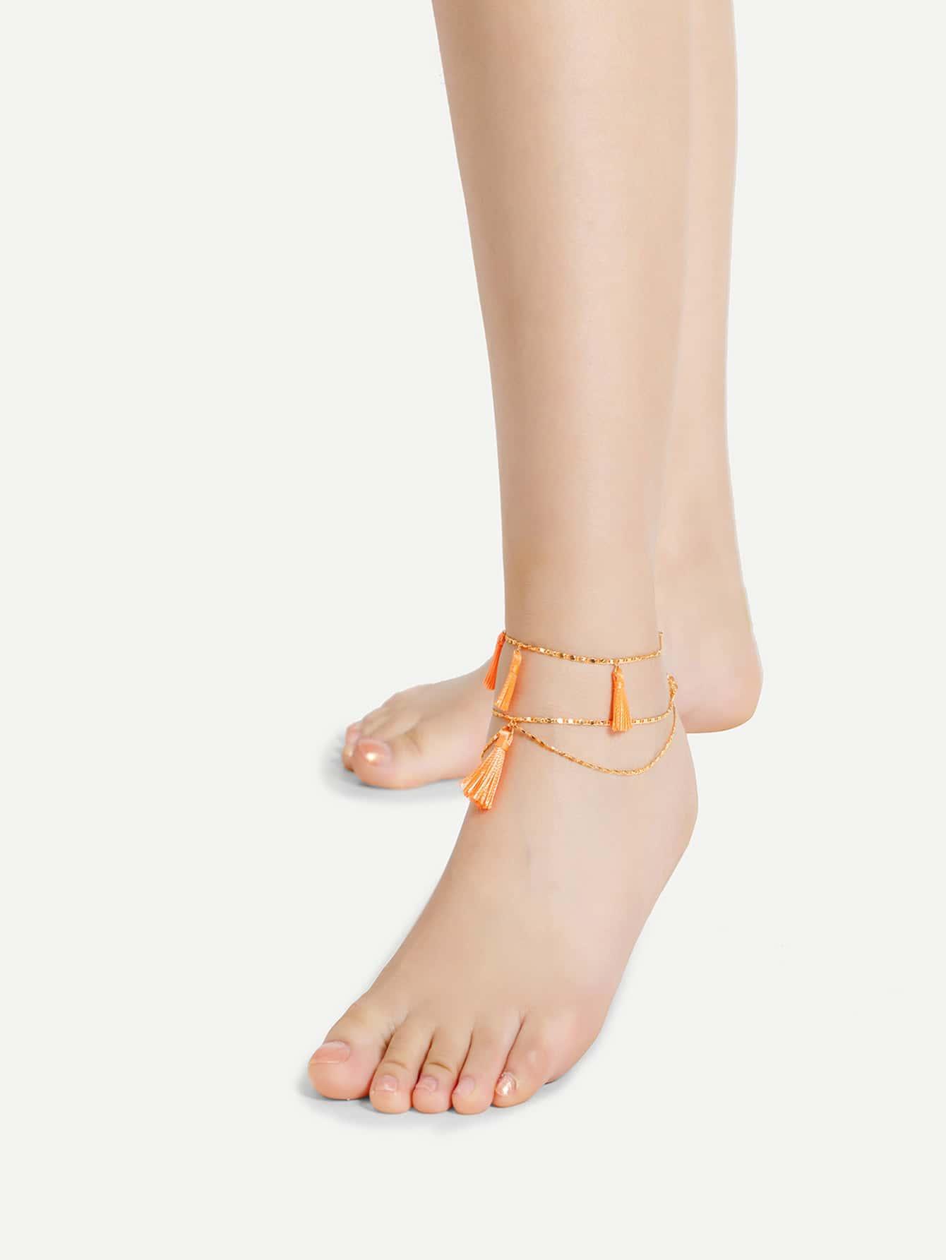 Фото Tassel Detail Chain Layered Anklet 2pcs. Купить с доставкой