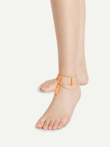Tassel Detail Chain Layered Anklet 2pcs
