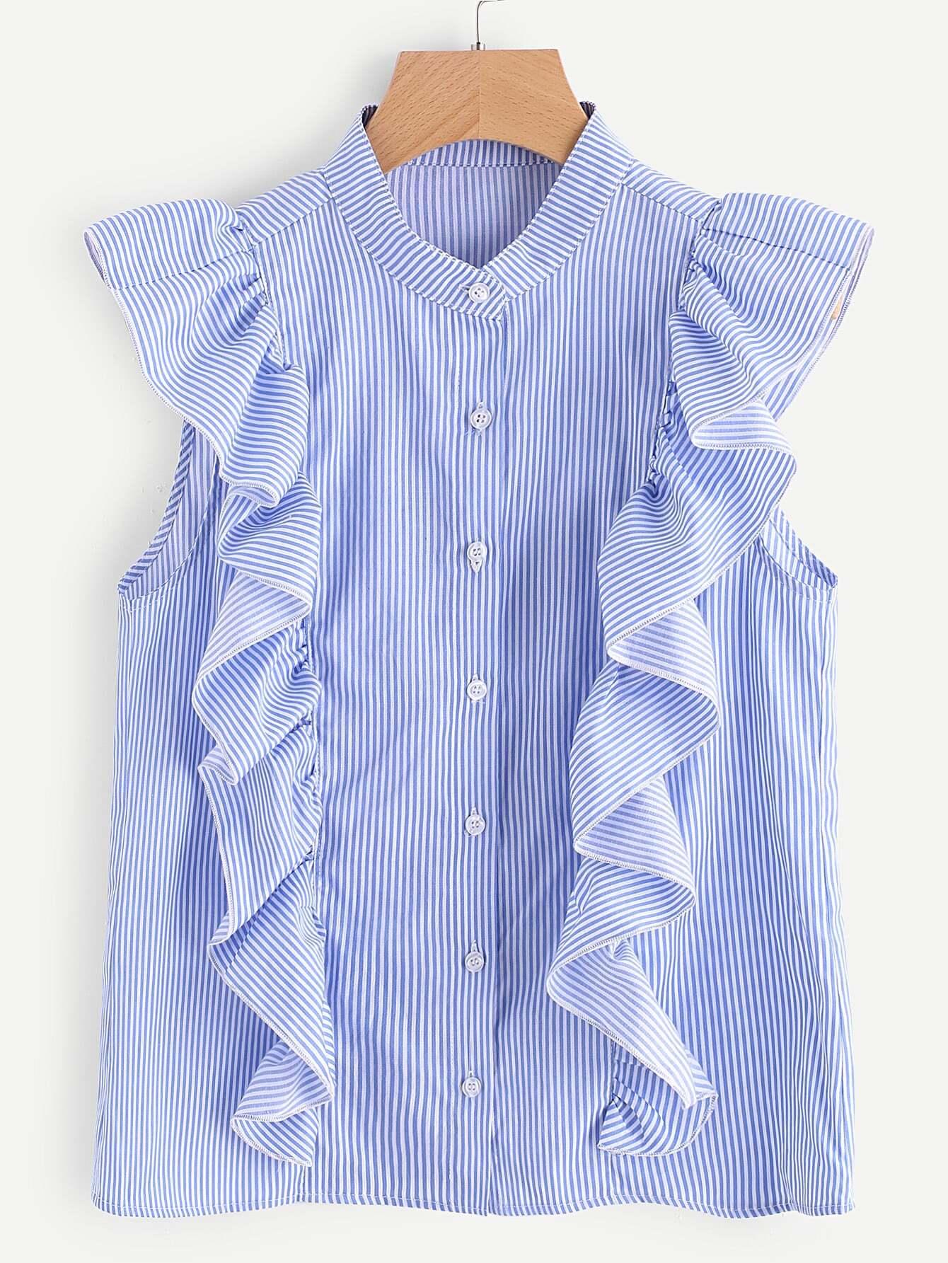 Фото Frill Trim Button Up Striped Blouse. Купить с доставкой