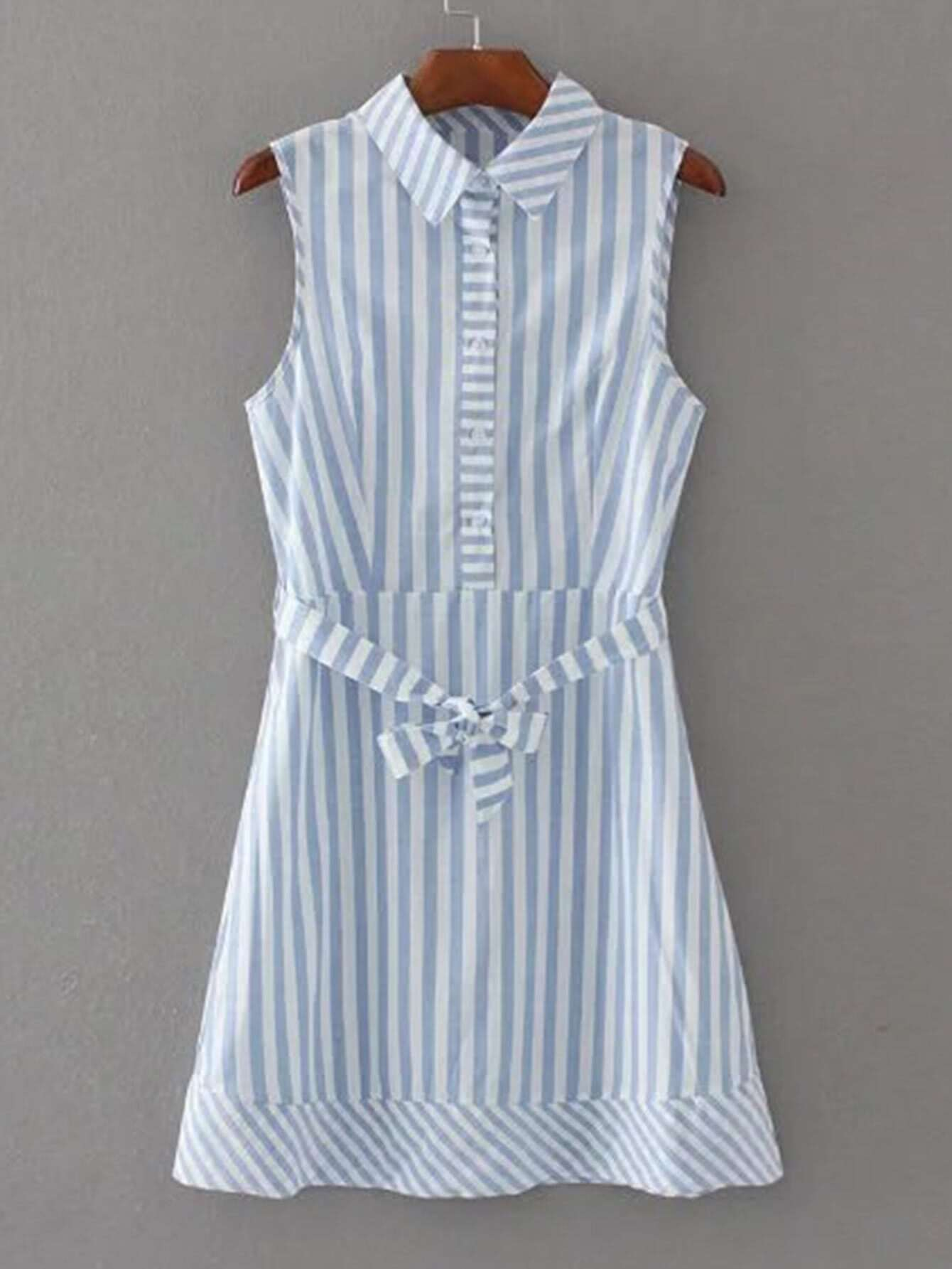 vertical striped tie waist shirt dress shein sheinside