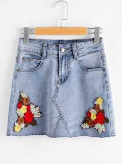 Flower Embroidered Raw Hem Light Wash Denim Skirt