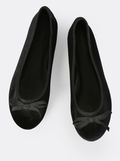 Velvet Ballet Flats BLACK