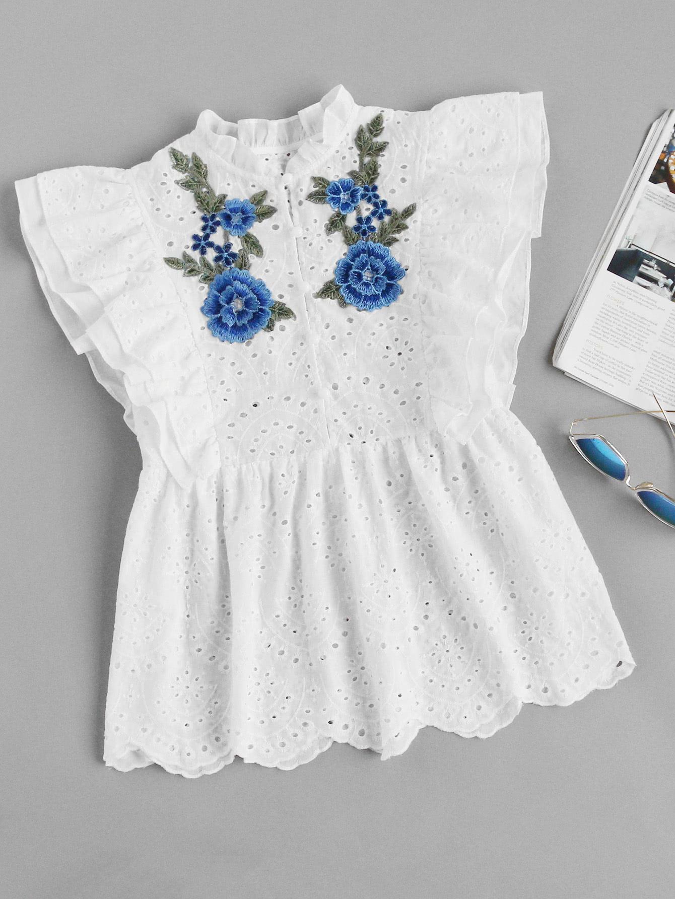 Flower Applique Layered Flutter Sleeve Eyelet Embroidered Top embroidered flutter sleeve self belt romper