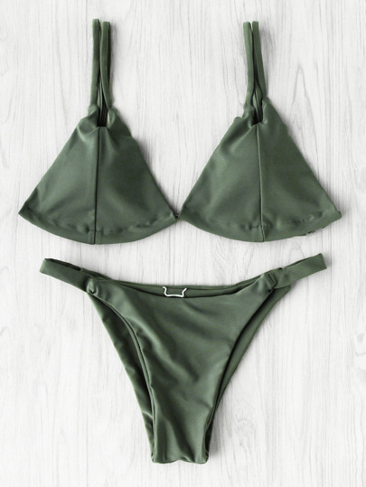 Double Strap Seam Triangle Bikini Set