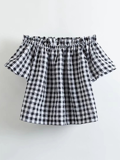 Boat Neckline Frill Trim Checkered Top