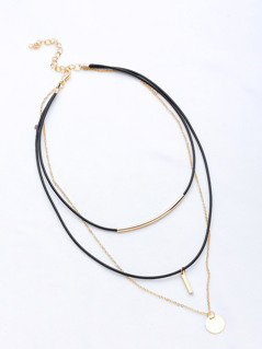 Bar Pendant Layered Necklace